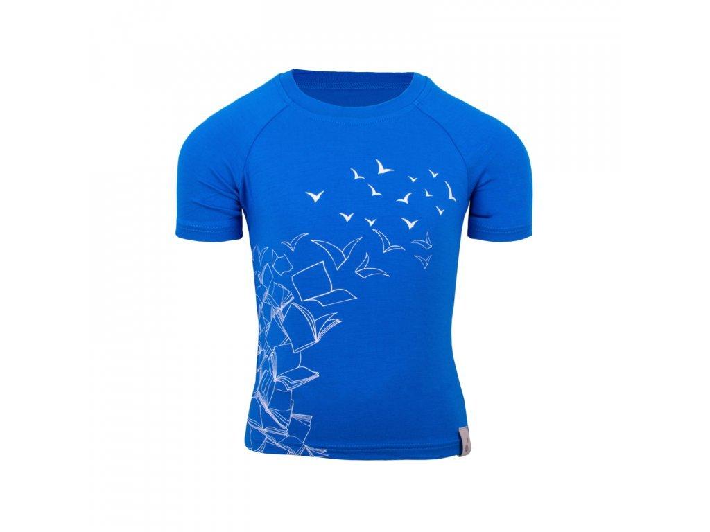 Dětské bambusové tričko s krátkým rukávem, modrá královská- letící kniha královská modrá