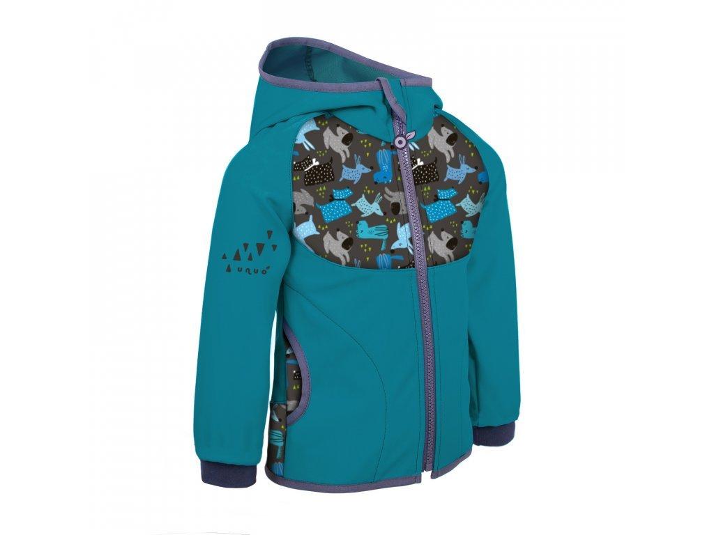 Dětská softshellová bunda bez zateplení, smaragdová- Pejsci