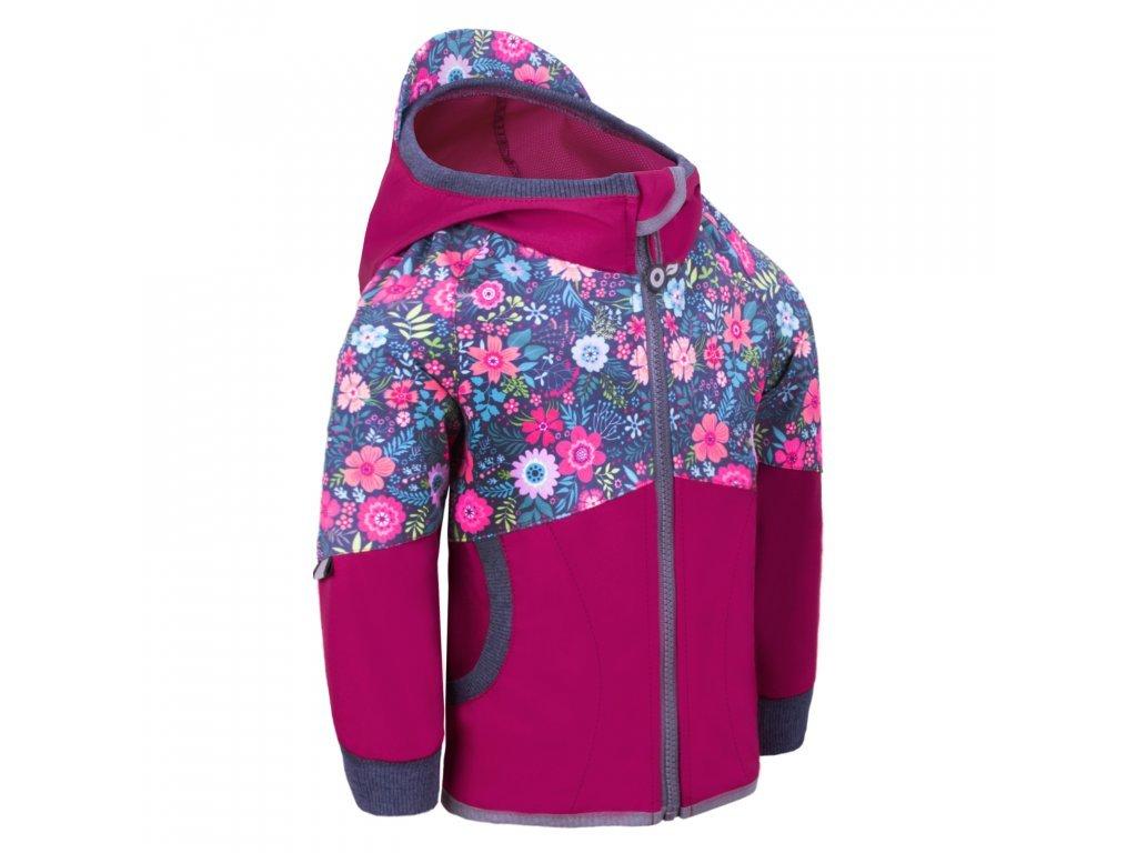Dětská softshellová bunda bez zateplení Street, tm. růžová malinová- květinky