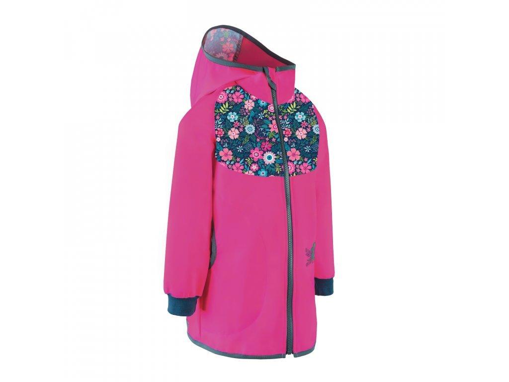 Dětský softshellový kabátek bez zateplení, Fuchsiová a květinky