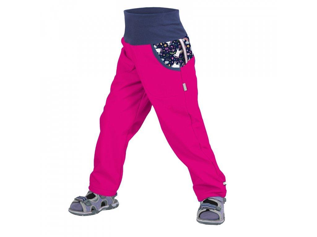 Dětské softshellové kalhoty bez zateplení, fuchsiová- Jednorožci