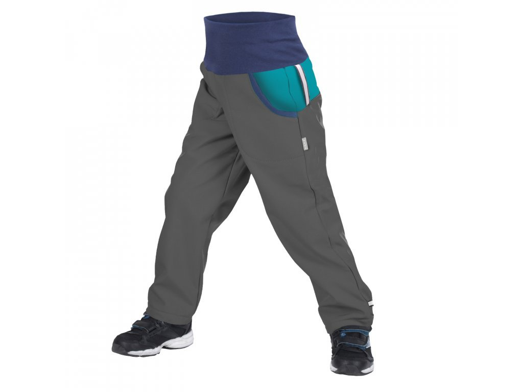 Dětské softshellové kalhoty s fleecem DUO, tm. šedá, sv. smaragdová