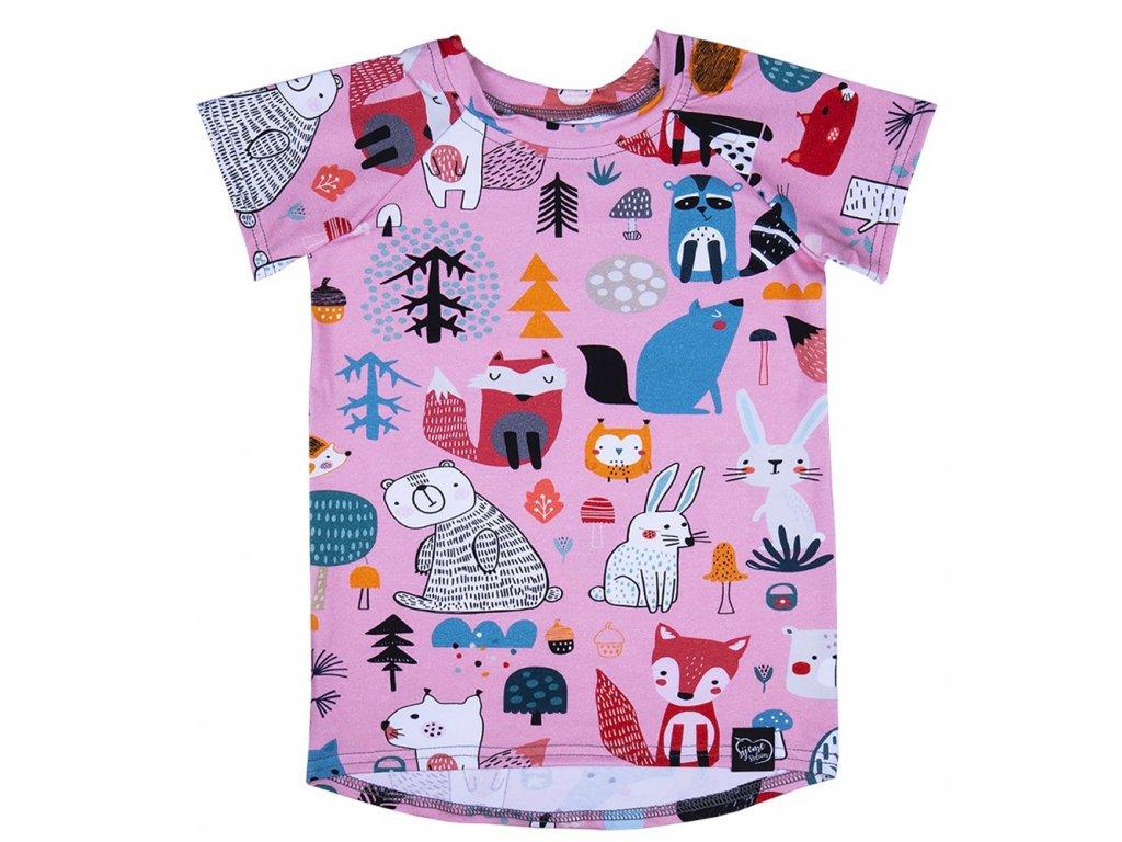 Růžové tričko se zvířátky