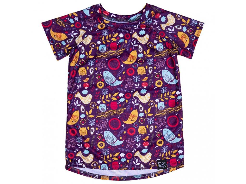 Fialové tričko s ptáčky