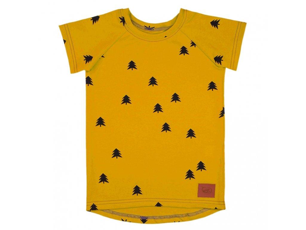 Dětské tričko les - hořčicová