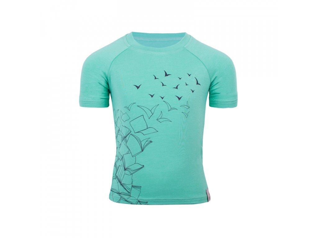 Bambusové tričko s krátkým rukávem s motivem letící knihy- mentolová