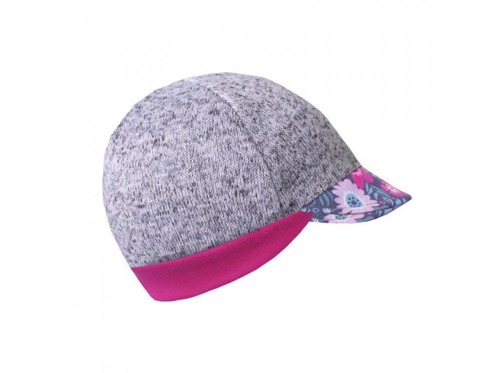Čepice ze svetroviny s kšiltem Street - květinky