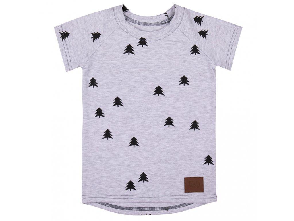 Dětské tričko les - šedá