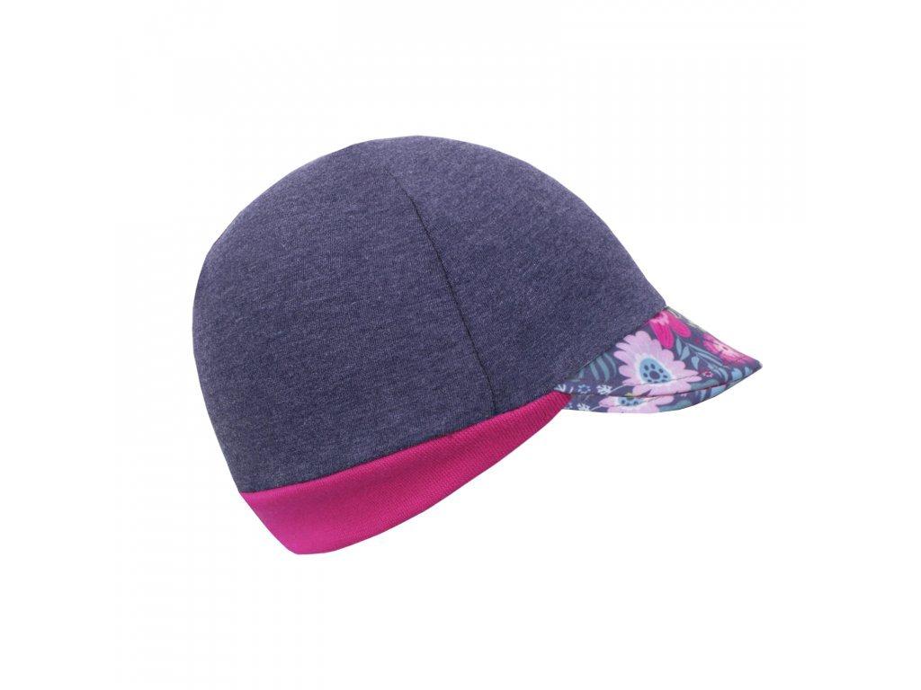 Čepice z teplákoviny s kšiltem Street Tmavý jeans - květinky