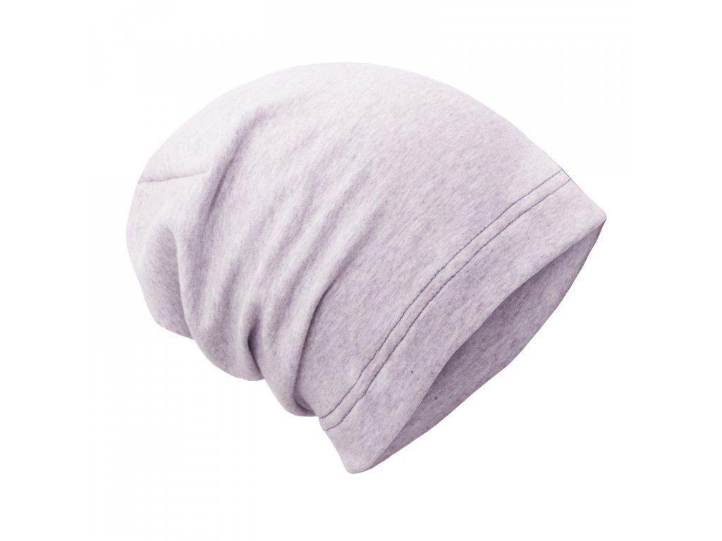 Spadená čepice z teplákoviny - Světle šedá