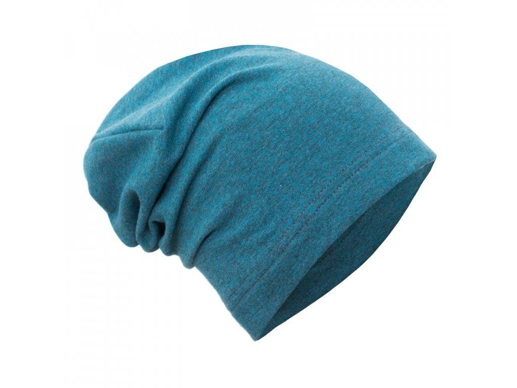 Spadená čepice z teplákoviny - Aqua