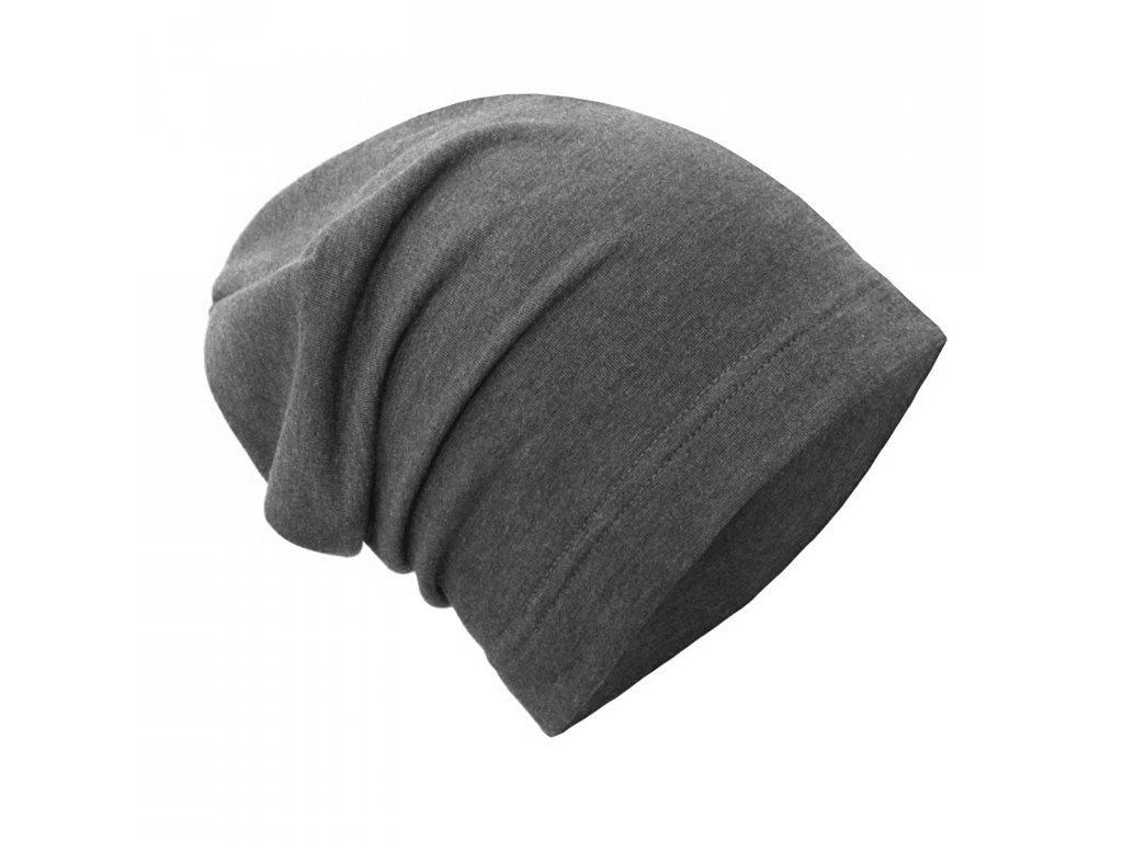 Spadená čepice z teplákoviny - Grafitová šedá
