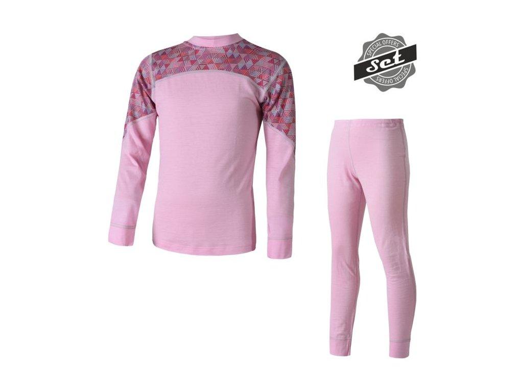 Merino impress set růžová/pattern