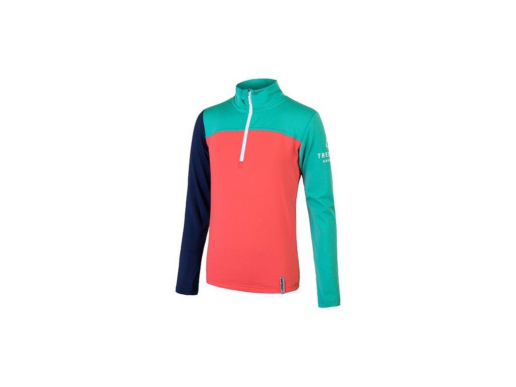 Coolmax Thermo dětské triko dl. rukáv korál/ sv. zelená/ tm. modrá