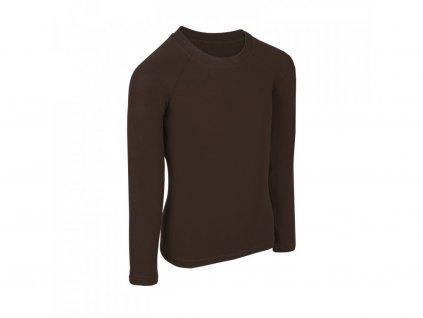 Bambusové tričko s dlouhým rukávem - černohnědá