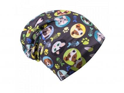 Chlapecká fleecová spadená čepice Kočka a pes