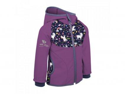 Dětská softshellová bunda s fleecem, ostružinová- Jednorožci