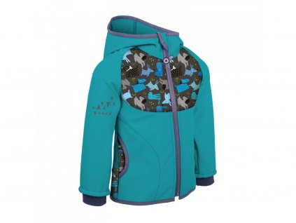 Dětská softshellová bunda s fleecem, sv. smaragdová- Pejsci