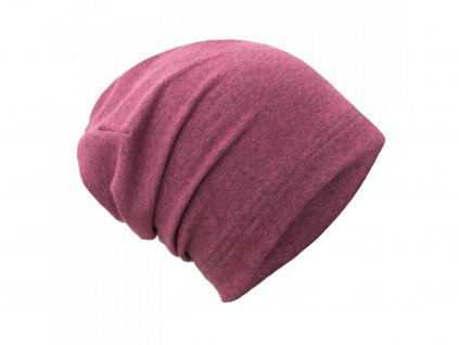 Spadená čepice z teplákoviny - Jahodová