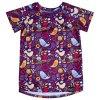 Fialové funkční tričko s ptáčky