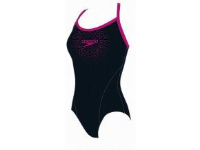 Dívčí plavky Speedo Logo černá / tm. růžová