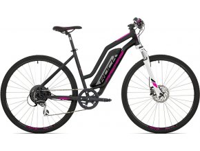 "Elektrokolo Rock Machine CrossRide e350 lady mat black/silver/pink +bat. 504 Wh, 17"" (M)"