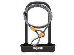 Zámek ONGUARD podkova 115x230x11 mm černá + lanko 1200x10 mm