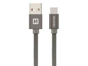 Datový kabel SWISSTEN USB/Micro USB-C 20 cm šedý
