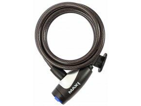 Zámek spirála MAX1 1800x8 mm 4 klíče, černý, s diodovým osvětlením