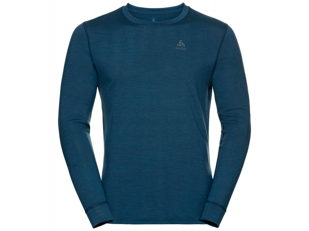 BL TOP Crew neck l/s NATURAL 100% MERINO WARM  blue wing teal