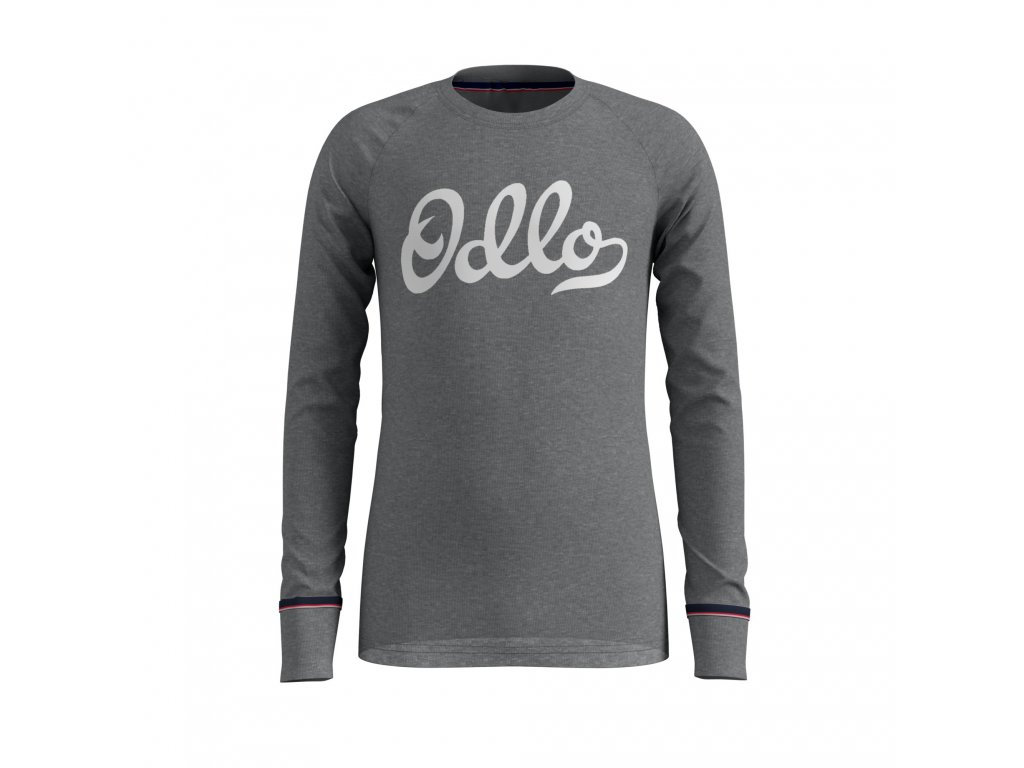 BL TOP Crew neck l/s ACTIVE WARM ORIGINALS KIDS  grey melange - placed print FW19