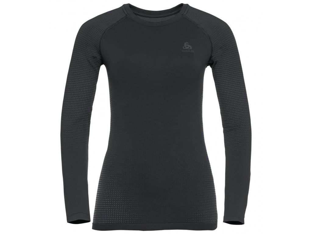BL TOP Crew neck l/s PERFORMANCE WARM ECO  black - new odlo graphite grey