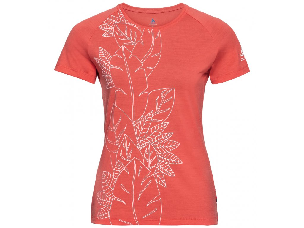 T-shirt s/s crew neck ALLIANCE  hot coral - flower leaf print SS20
