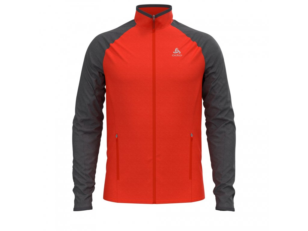 Midlayer full zip PROITA  orange.com - odlo graphite grey
