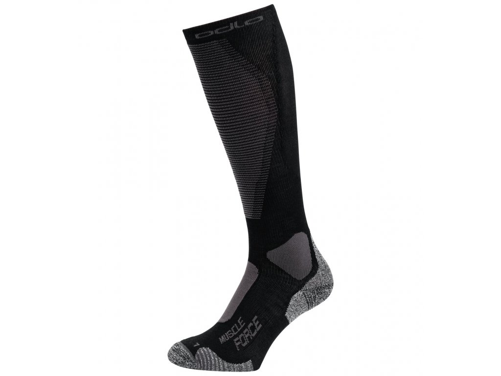 Socks over the calf MUSCLE FORCE ACTIVE WARM LIGHT  black - odlo graphite grey