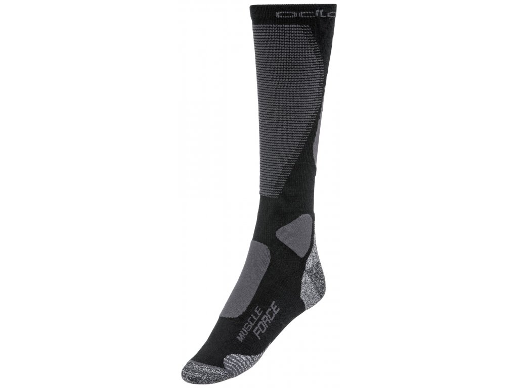 Socks over the calf MUSCLE FORCE ACTIVE WARM  black - odlo graphite grey