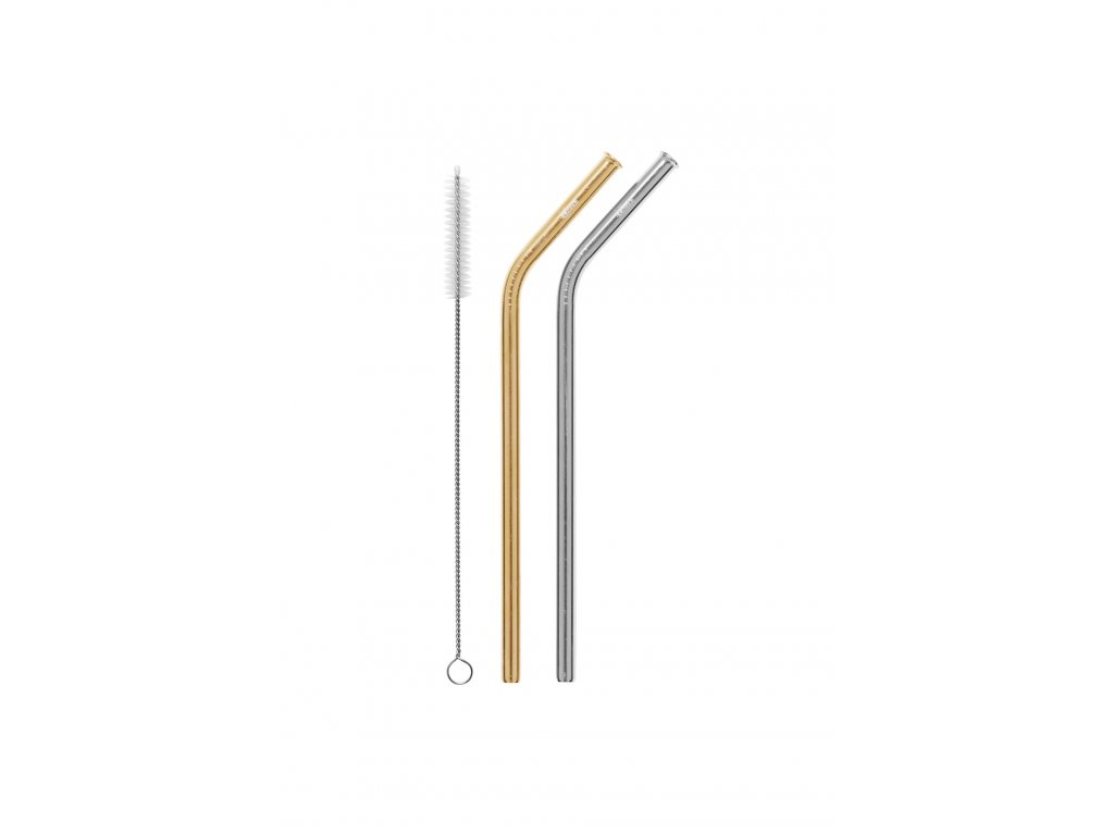 SS Straw Bent 2Pk - Silver,Gold, a Brush  Silver,Gold, a Brush