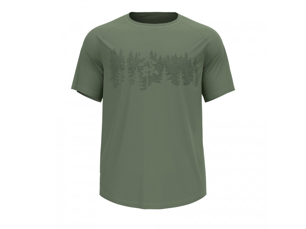 T-shirt s/s crew neck CONCORD  matte green - forest graphic SS21