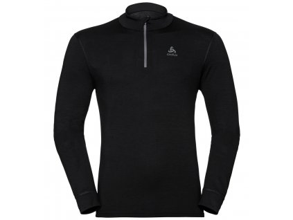 BL TOP Turtle neck l/s half zip NATURAL 100% MERINO WARM  black - black