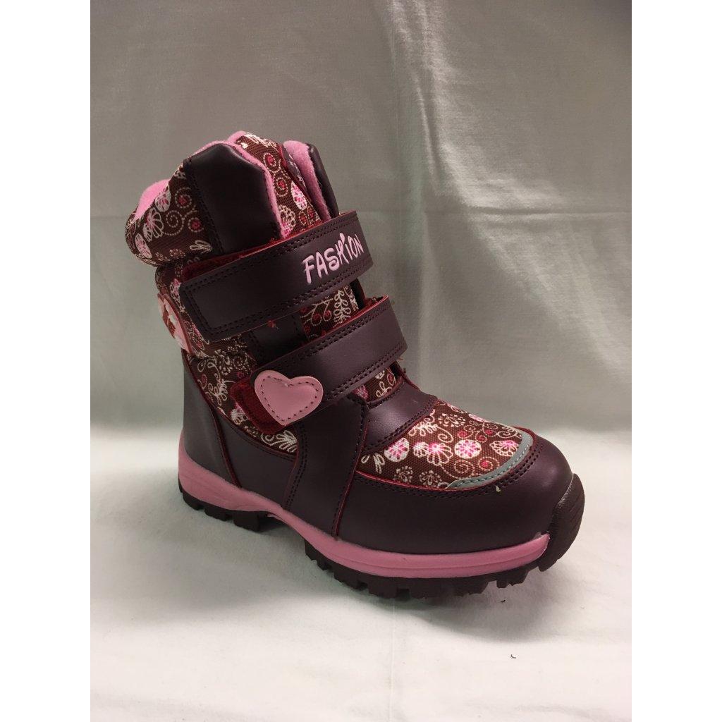 Dívčí zimní obuv-vínová