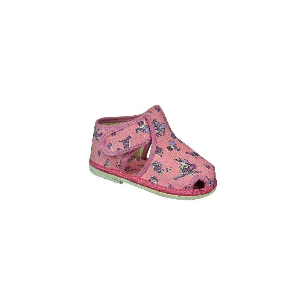 dětské obrázkové bačkůrky 805-1 růžové