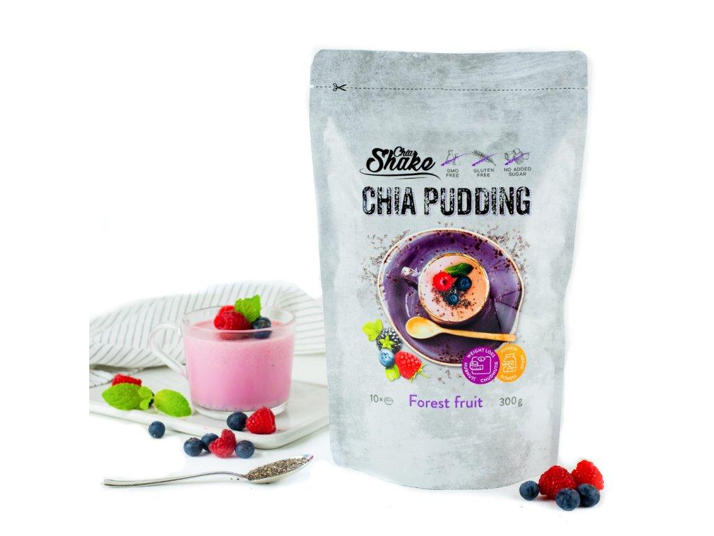 Výživa CHIASHAKE CHIA PUDING 300g (10 porcí) - lesní plody