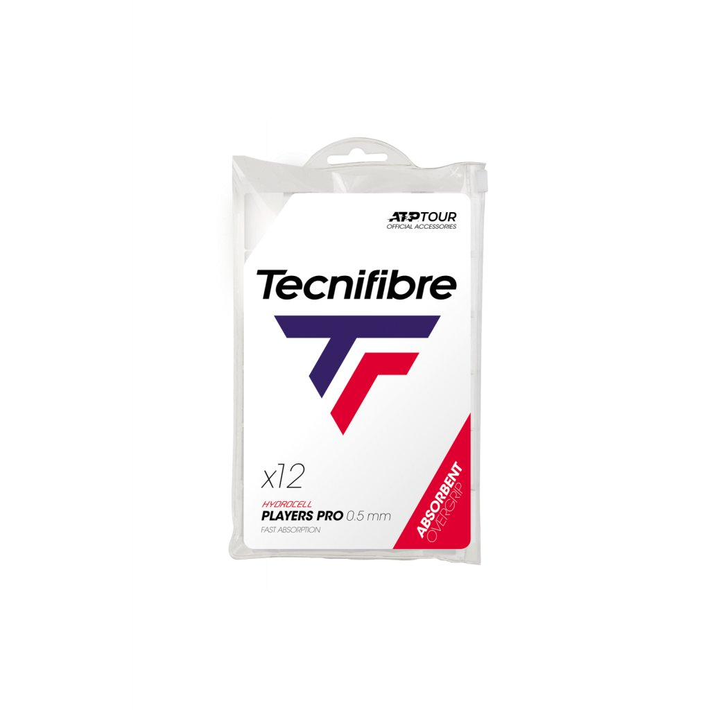 Tenisová omotávka Tecnifibre PRO PLAYERS WHITE OVERGRIP 0,50 mm (12 ks)