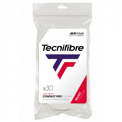Tenisová omotávka Tecnifibre PRO CONTACT WHITE OVERGRIP 0,66 mm (30 ks)