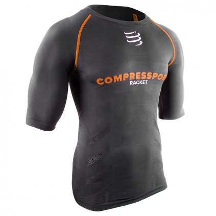 Kompresné šortky Compressport Short Sleeve Top ON-OFF Black