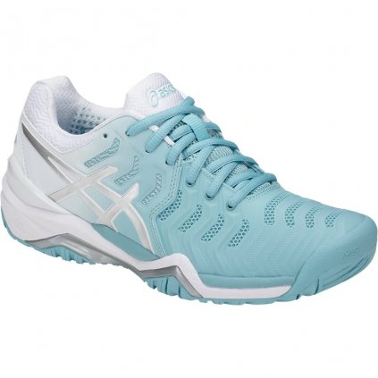 Dámska tenisová obuv ASICS GEL-RESOLUTION 7 CLAY PORCELAIN BLUE