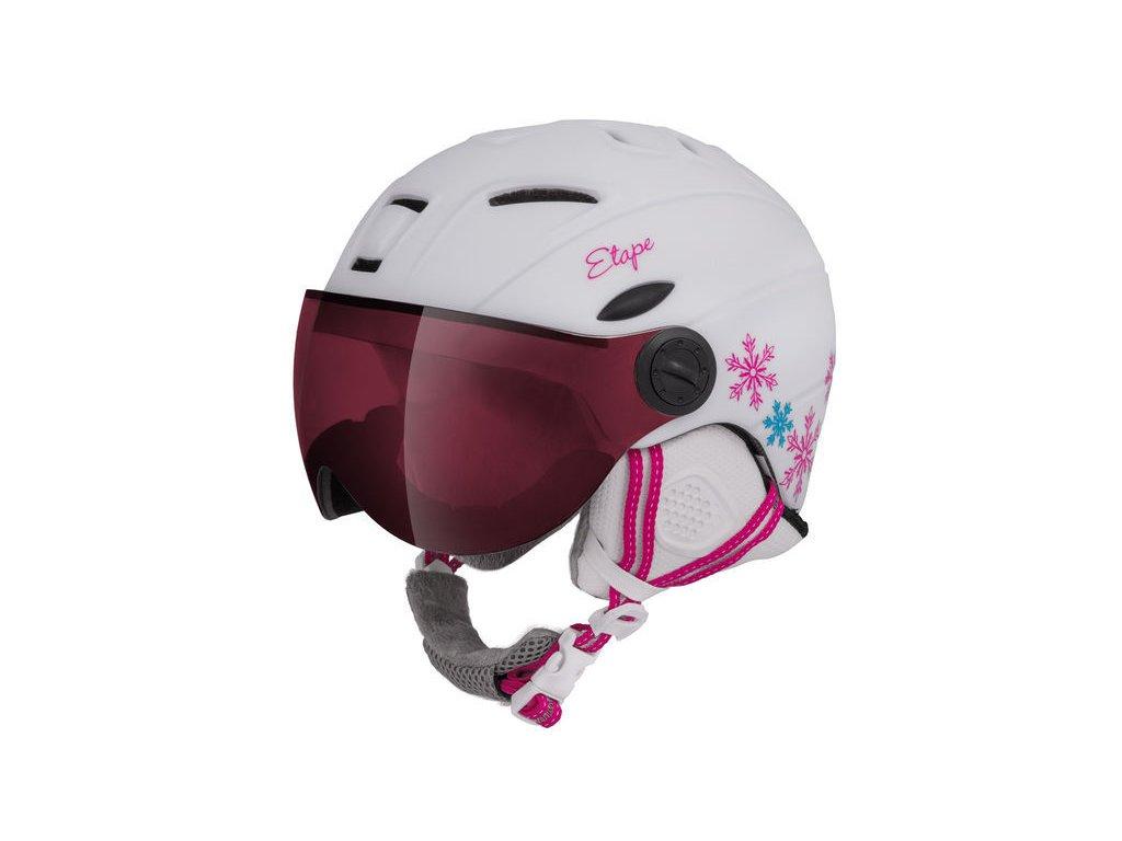 Dětská lyžařská helma Etape Rider Pro, bílá/růžová mat