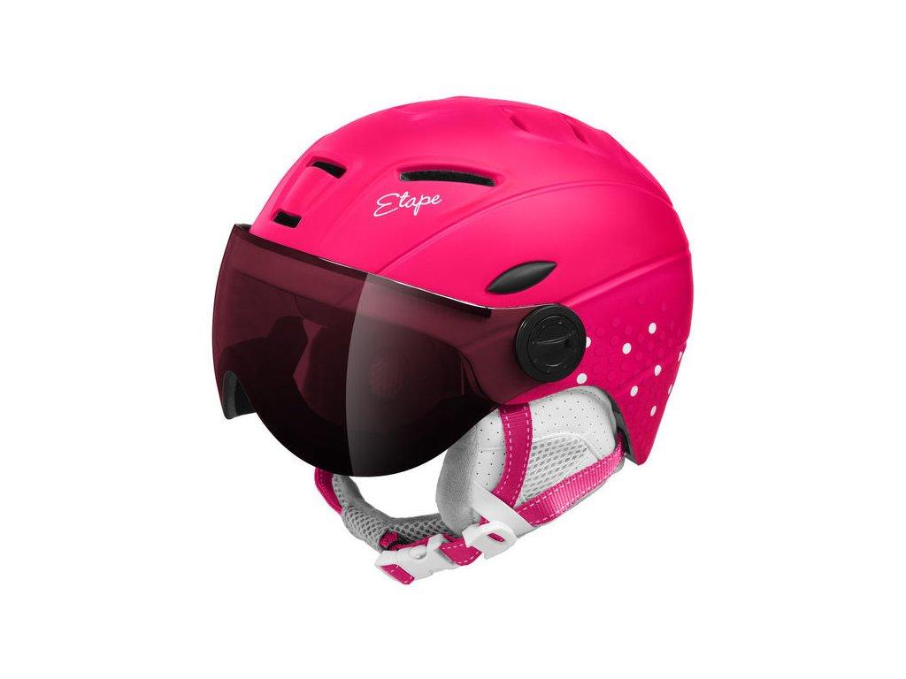 Dětská lyžařská helma Etape Rider Pro, růžová/bílá mat