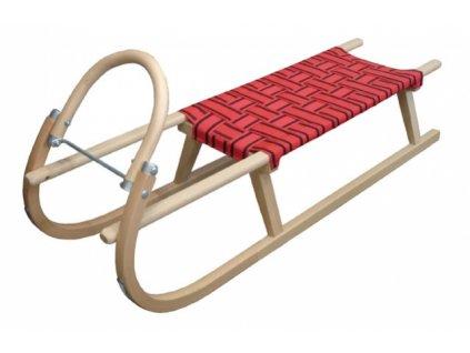 sáně dřevěné s popruhy 125cm červené