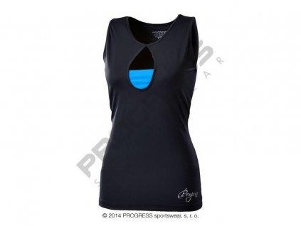 Progress TORA dámské sportovní fitness tílko černá/modrá (Varianta XL)